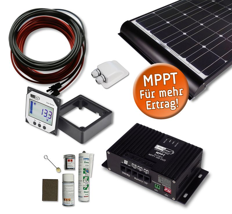 off grid systems wohnmobil solar set solarmodul solarladeregler mppt. Black Bedroom Furniture Sets. Home Design Ideas