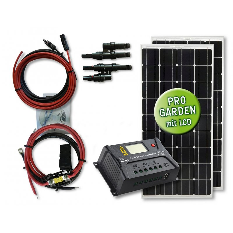 210 watt garten solar set komfort typ gs 210 12 20 pwm laderegler 346 00 off grid. Black Bedroom Furniture Sets. Home Design Ideas