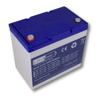 LiMoPower® Deep Cycle AGM Batterien Typ LMP-AGM 12V / 50Ah @ 10h
